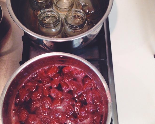 strawberry jam-boil glasses