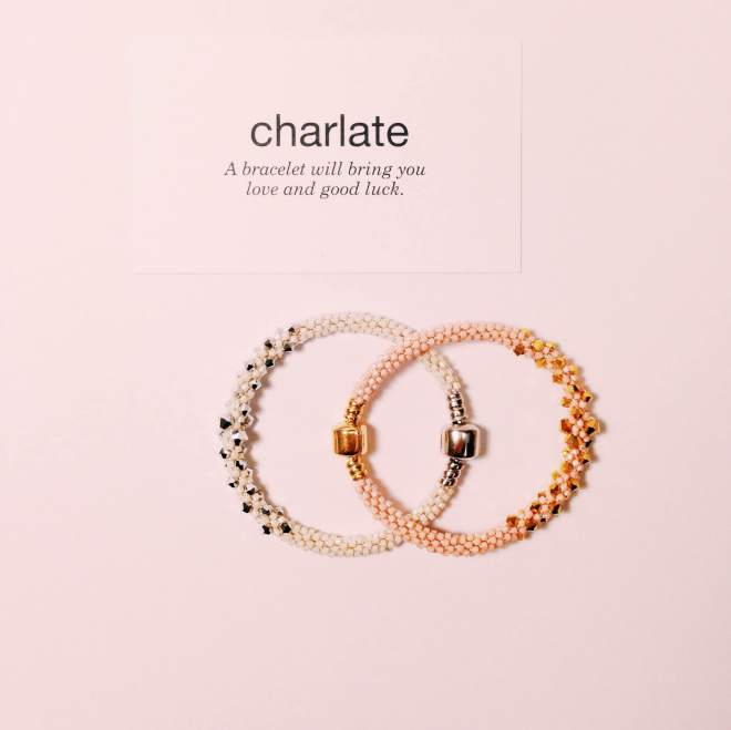 ivory silver crystal bracelet and pink gold crystal bracelet.